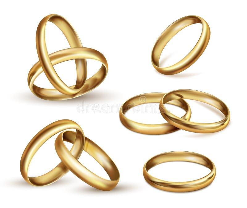 金结婚戒指集合,仪式礼物标志 皇族释放例证