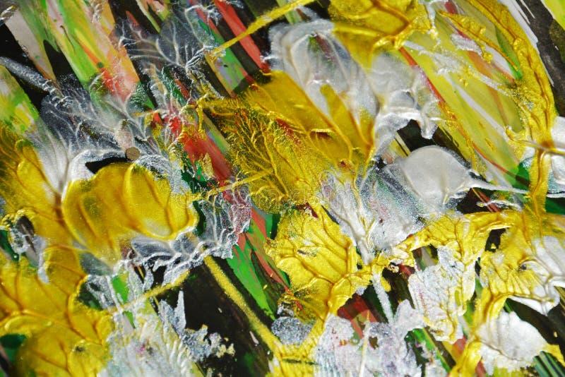 金绿色黄色混杂的刷子抚摸水彩油漆 水彩油漆摘要背景 库存图片