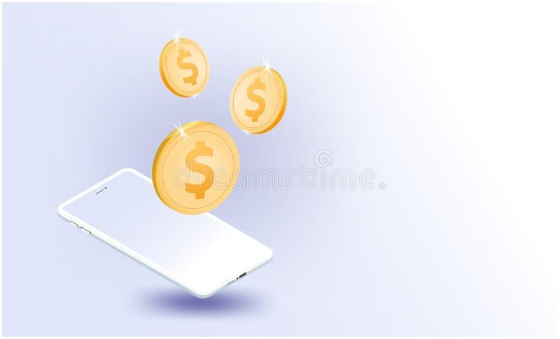 金美元硬币智能手机,导航事系统企业全球网络学习机未来派智能手机互联网  向量例证