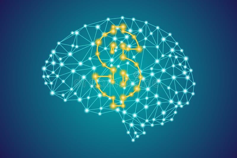 金美元金钱在多角形低多结节人脑背景的象标志 向量例证