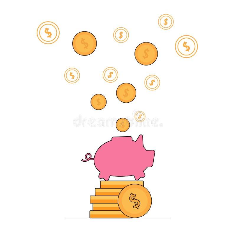 金美元飞行在桃红色猪存钱罐外面 ?? 库存例证