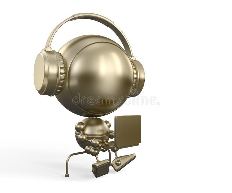金耳机笔记本机器人 皇族释放例证