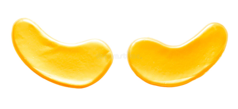 金胶原眼罩 背景查出的白色 免版税库存照片