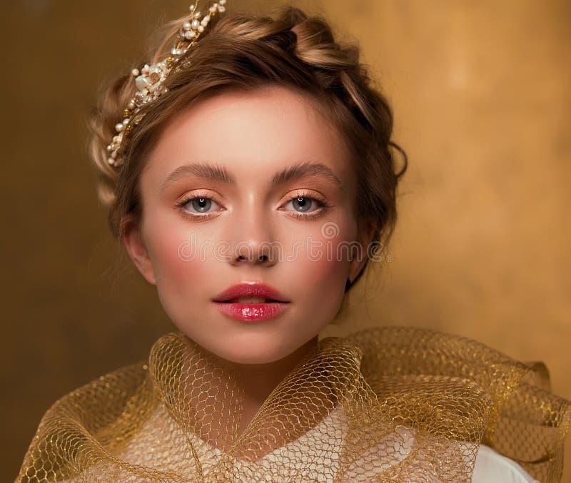 金色复古女性画像 免版税图库摄影