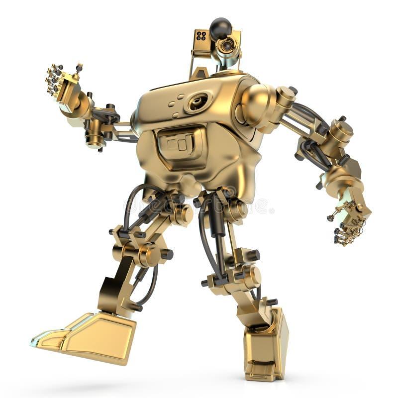 金色有人的特点的机器人 向量例证