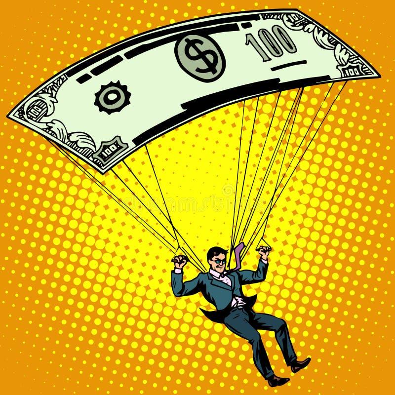金色降落伞企业概念现金 向量例证