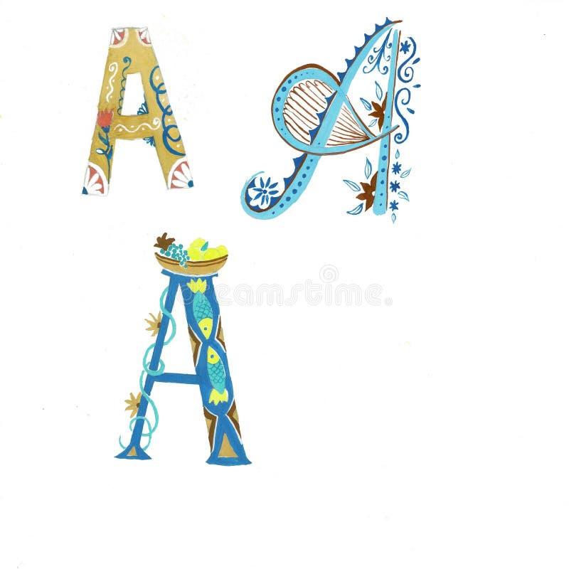 金花卉水彩字母表艺术 金子的组合创造精美设计的信件和花花圈为 向量例证
