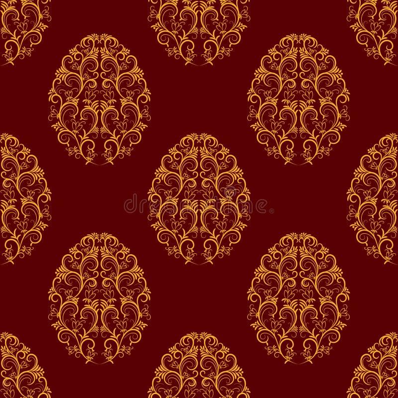 从金花卉鸡蛋的无缝的样式在红色 向量例证