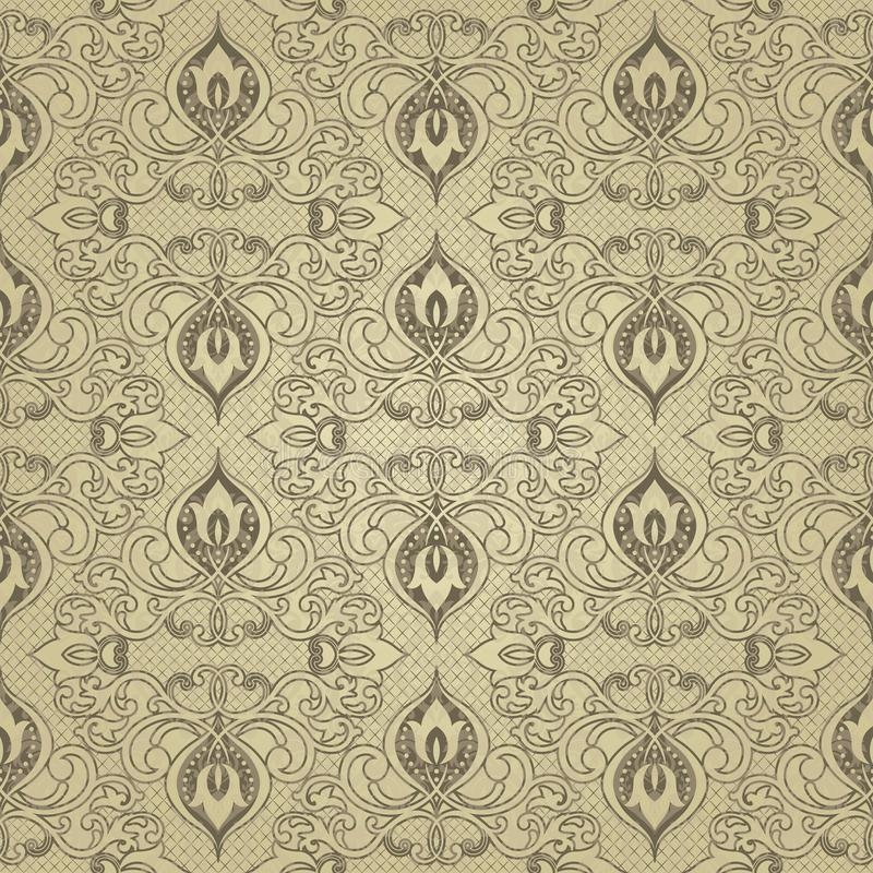 金花无缝的样式 抽象背景花卉向量 与几何形状和元素的金黄装饰设计 向量例证