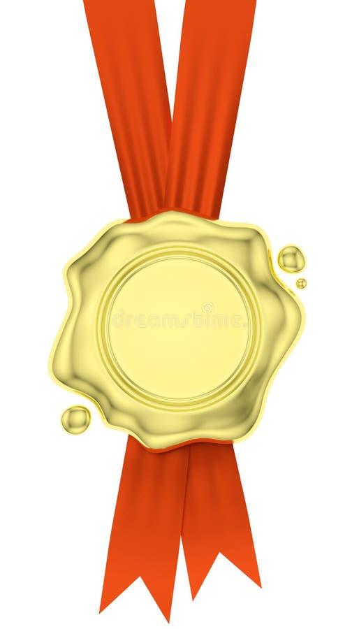 金蜡在红色丝带的封印吊在白色 皇族释放例证