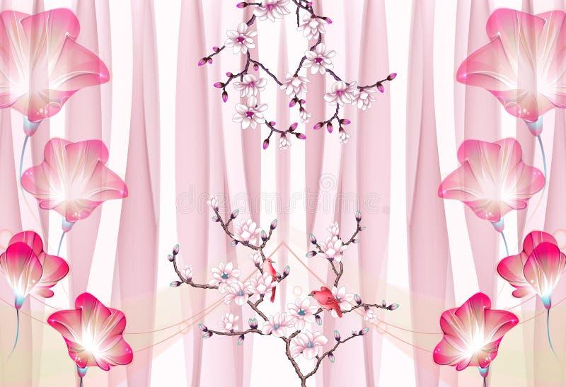 金蝶三维壁画枝花 wallpaper rose background 向量例证