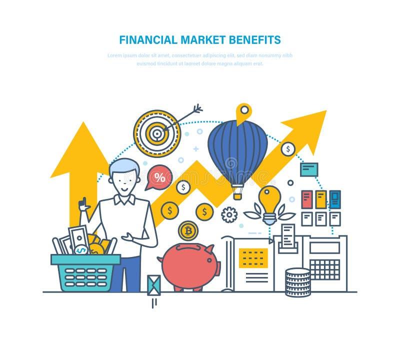金融市场好处 经济增长资本,股市的概念 皇族释放例证