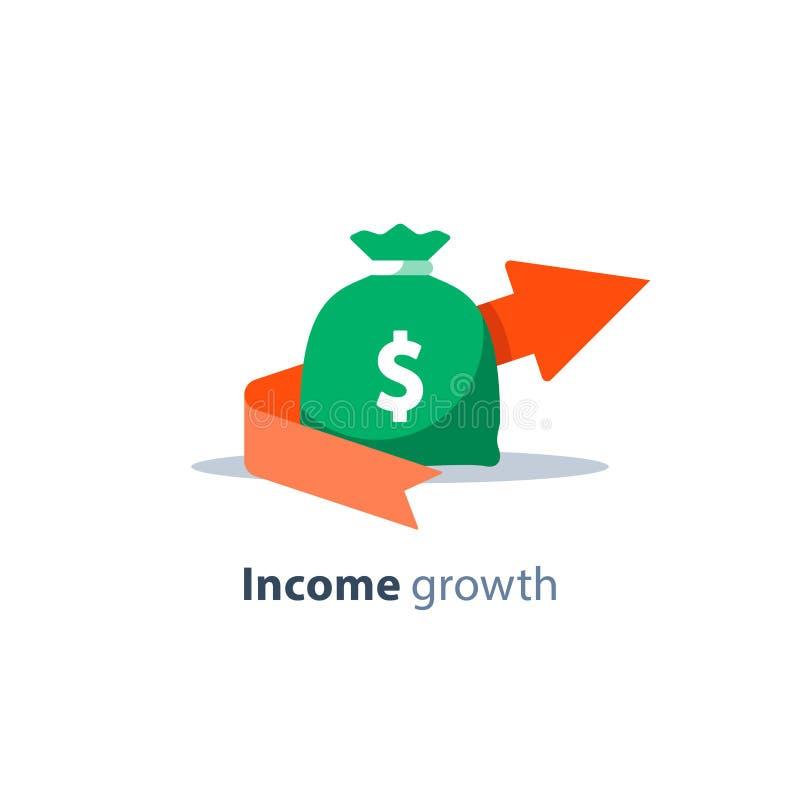 金融投资、养恤基金、银行业务、预算计划、财务报告、收入成长、债务和贷款概念 向量例证