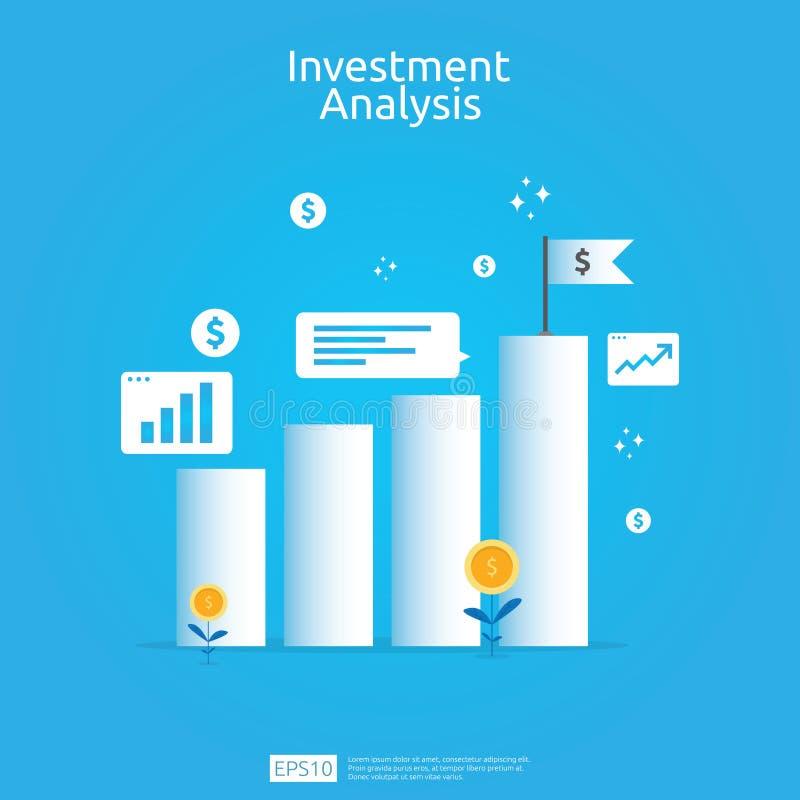 金融投资企业营销策略横幅的分析概念 ROI视觉的回收投资与图表图 皇族释放例证