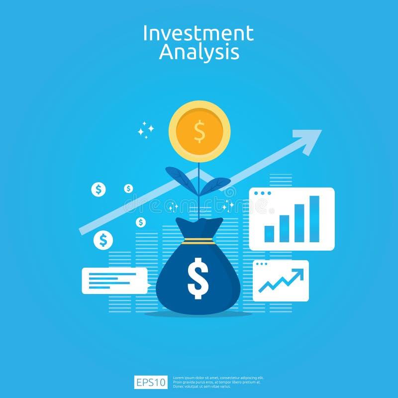 金融投资企业营销策略横幅的分析概念 ROI视觉的回收投资与图表图 向量例证