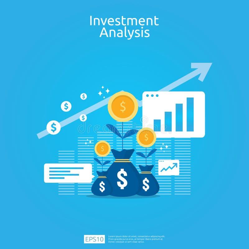 金融投资企业营销策略横幅的分析概念 ROI视觉的回收投资与图表图 库存例证