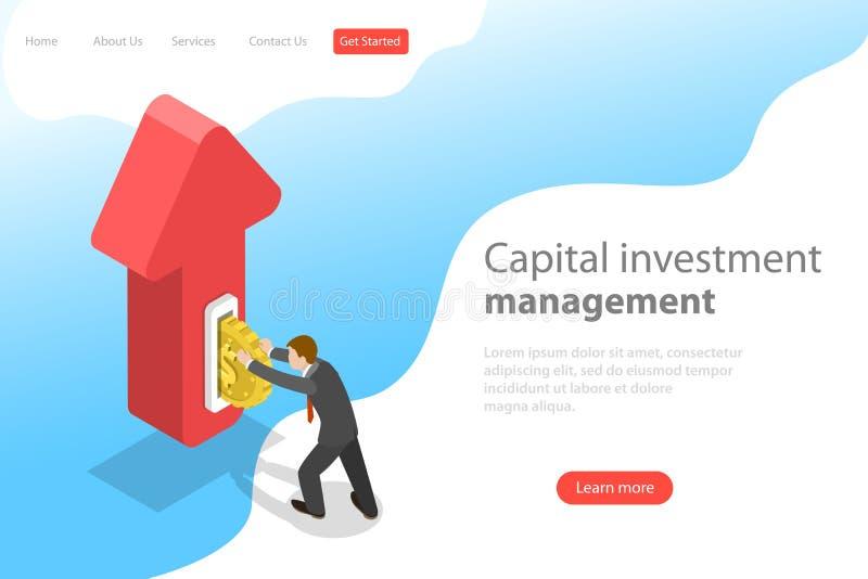 金融投资平的等量传染媒介着陆页模板  库存例证