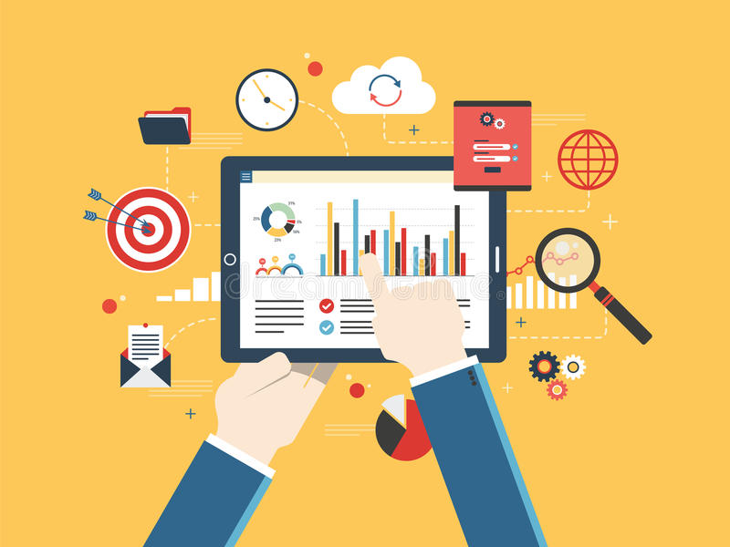 金融投资,与成长的逻辑分析方法的平的设计传染媒介例证概念报告 库存例证