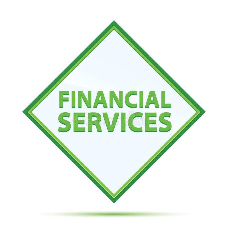 金融服务现代抽象绿色金刚石按钮 皇族释放例证