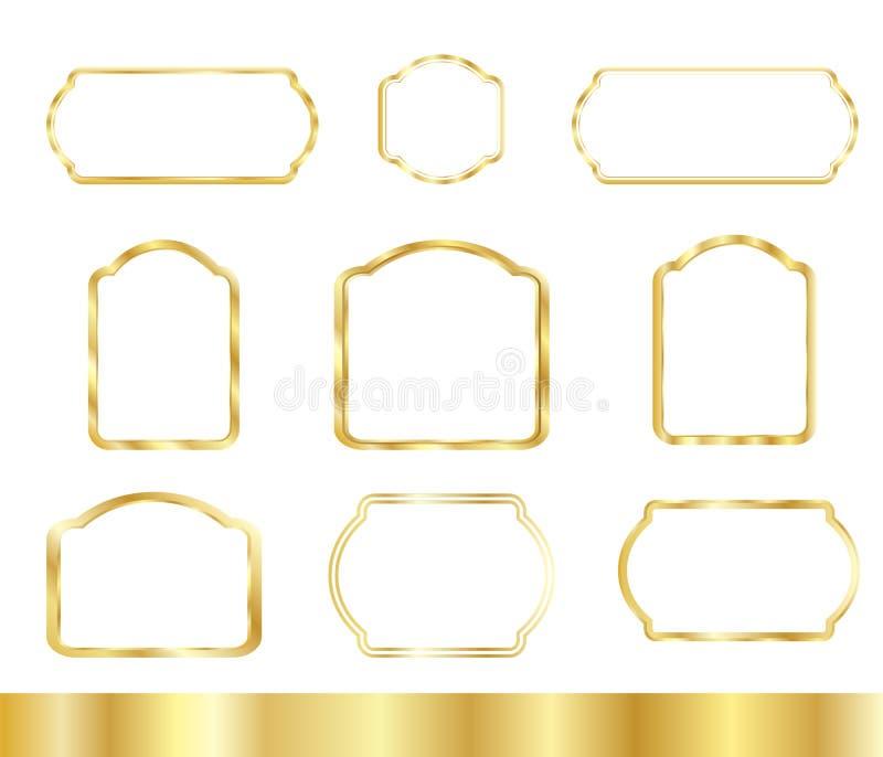 金被设置的葡萄酒框架 向量例证