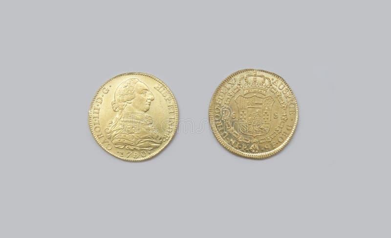 金西班牙八块或查尔斯III埃斯库多 免版税库存图片