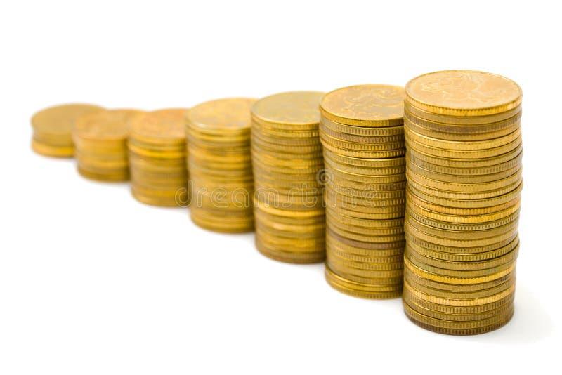 金货币楼梯 免版税库存照片