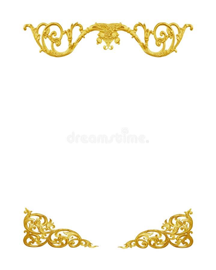 金金属框架的样式雕刻在白色的花 免版税库存照片