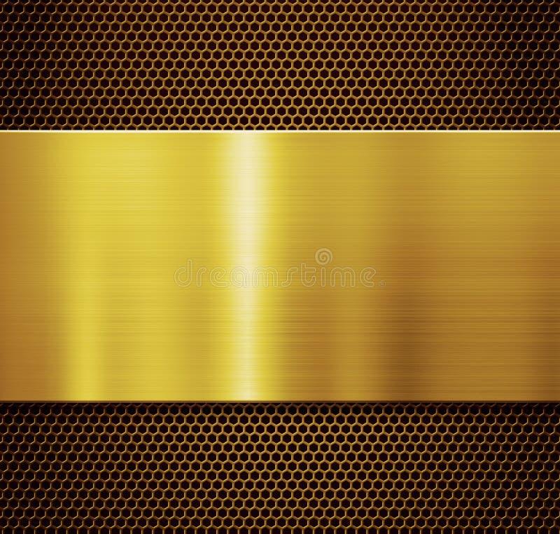 金金属片结束梳子花格背景3d例证 免版税库存照片