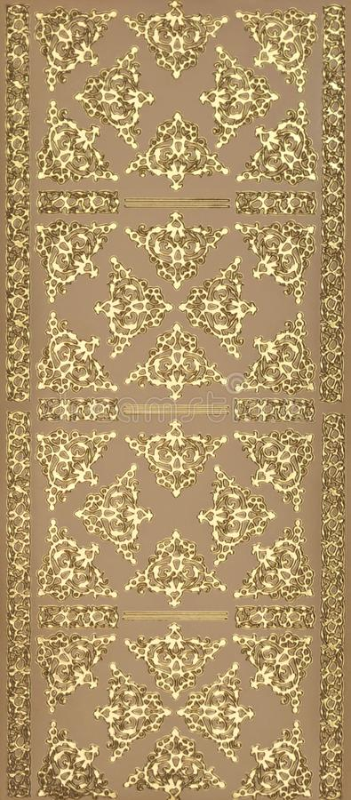 金金属纹理无缝的花卉典雅的背景 免版税库存图片