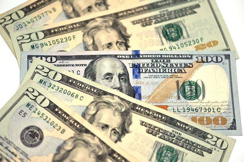 金钱、20美元和100美元特写镜头  免版税库存图片