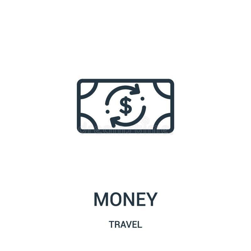 金钱从旅行汇集的象传染媒介 稀薄的线金钱概述象传染媒介例证 线性标志为在网的使用和 向量例证