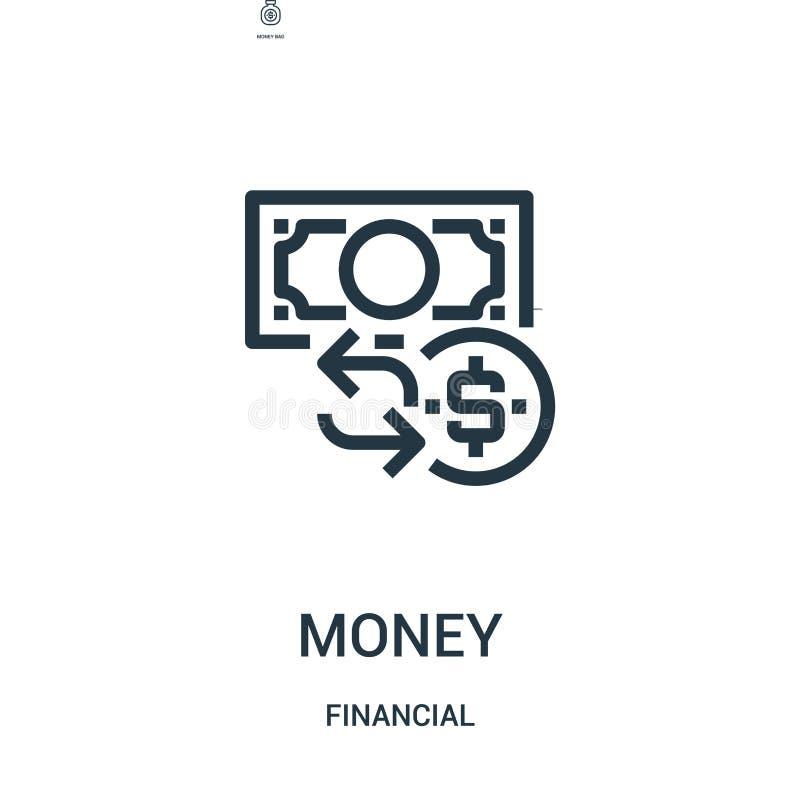 金钱从财政收藏的象传染媒介 稀薄的线金钱概述象传染媒介例证 线性标志为在网的使用和 向量例证
