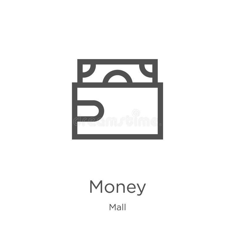 金钱从购物中心汇集的象传染媒介 r 概述,稀薄的线金钱象为 向量例证