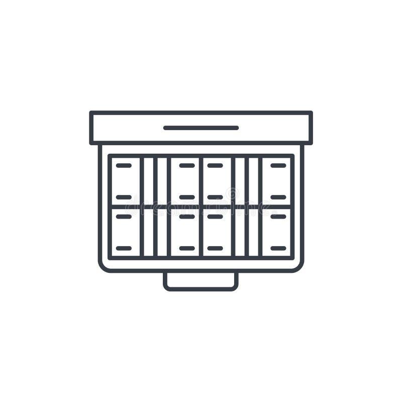 金钱充分的盒,银行业务,美元现金,提供经费给稀薄的线象 线性传染媒介标志 库存例证