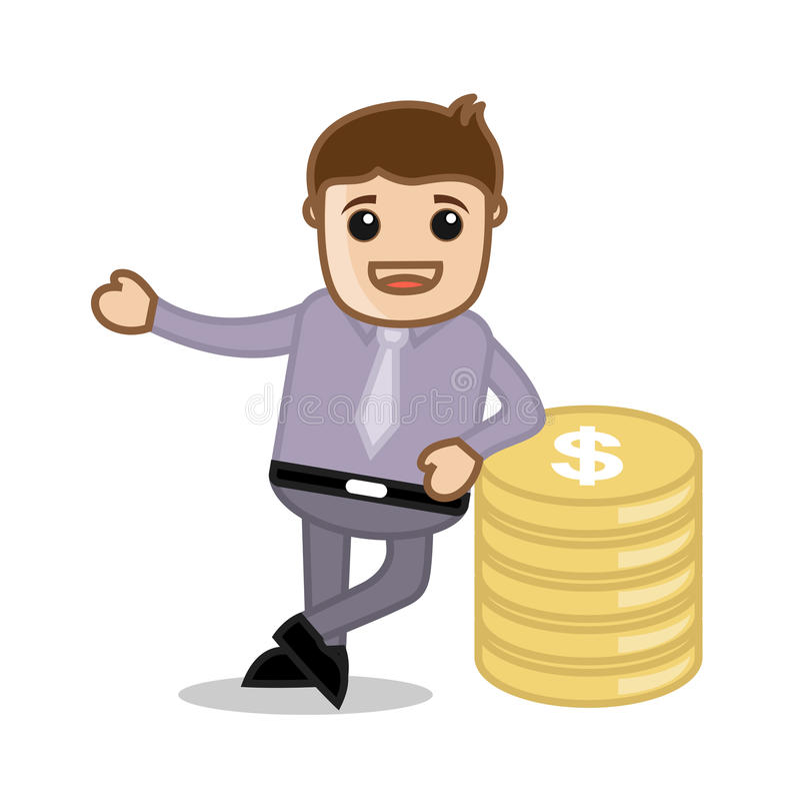 金钱办公室和商人漫画人物传染媒介例证概念 库存例证