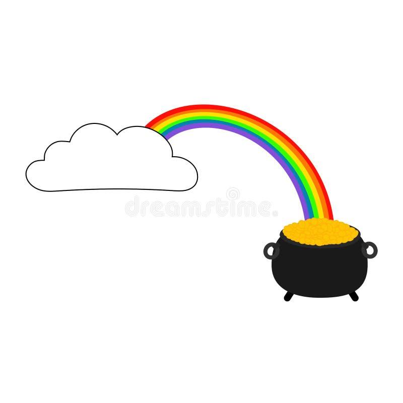 金钱和云彩与彩虹 库存例证