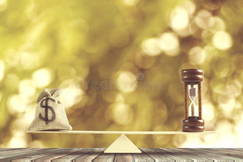 金钱和时间平衡,变动金钱到现金或反向concep 库存照片