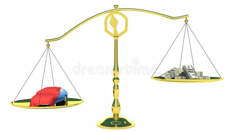 金钱和汽车在金平衡标度。隔绝在白色 皇族释放例证