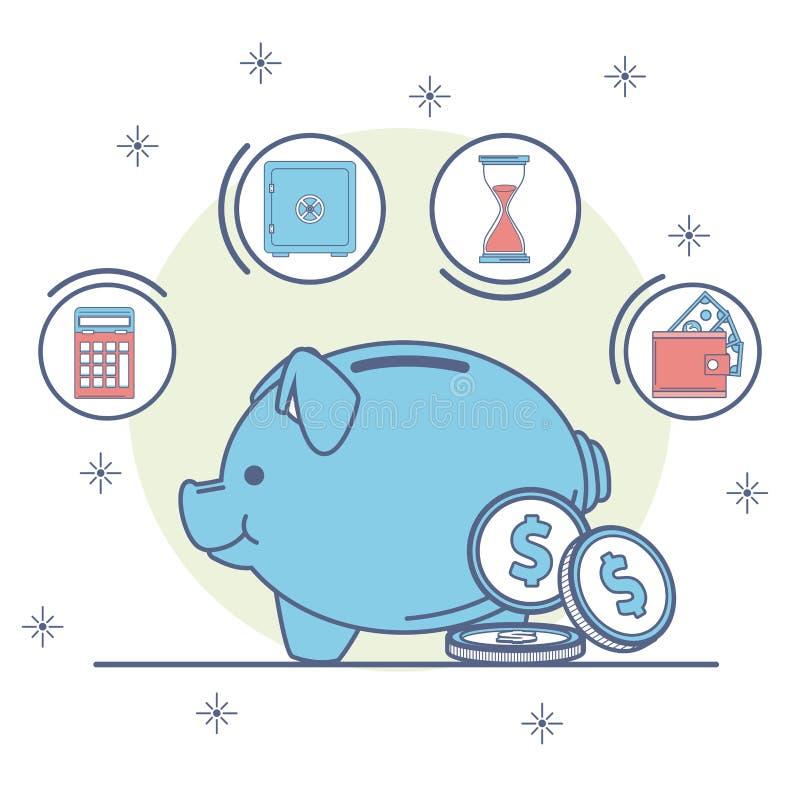 金钱和银行概念 向量例证