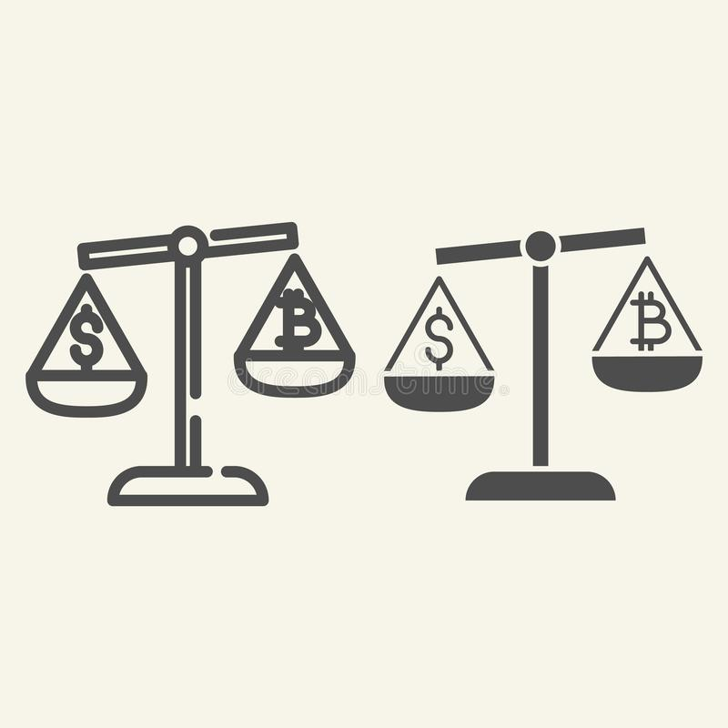 金钱和cryptocurrency线和纵的沟纹象平衡  Bitcoin和美元在标度被隔绝的传染媒介例证  库存例证