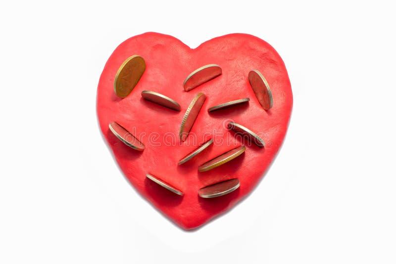金钱在心脏 库存例证