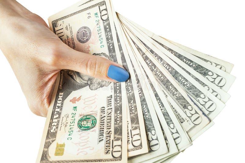 金钱在手上,有金钱的手,举行钞票和c的手 免版税库存图片