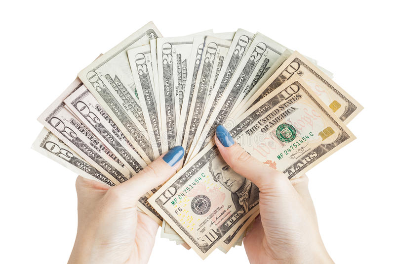 金钱在手上,有金钱的手,举行钞票和c的手 免版税库存照片