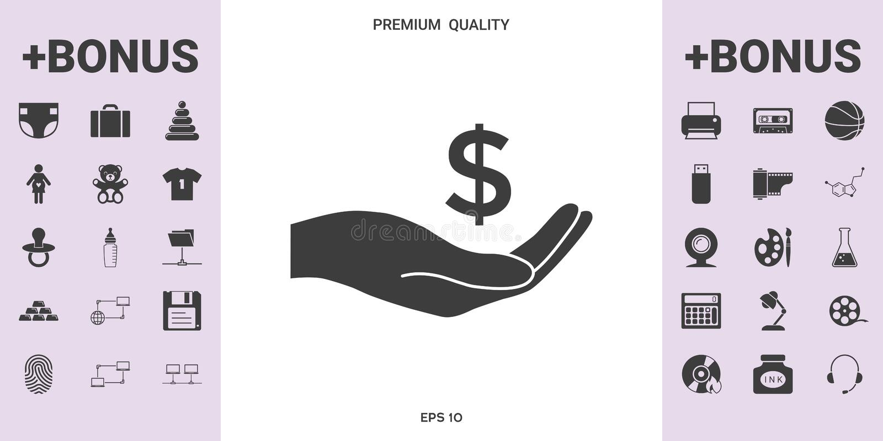 金钱在手中,美元标志象-您的设计的图表元素 向量例证