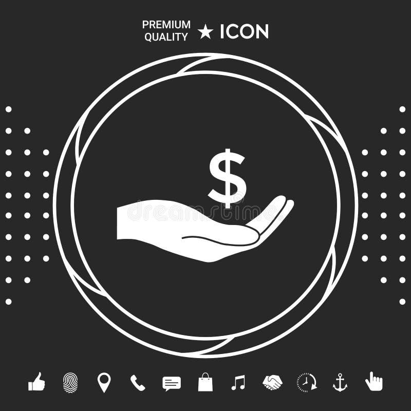 金钱在手中,美元标志象 您的designt的图表元素 皇族释放例证