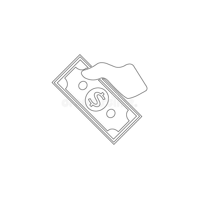 金钱在手边 平的传染媒介象 库存例证