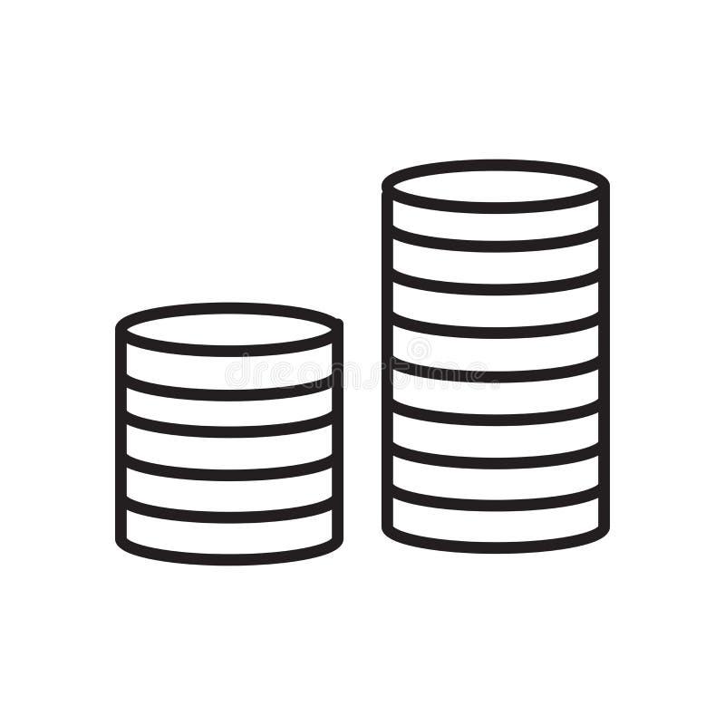 金钱在白色背景、金钱标志、标志和标志隔绝的象传染媒介在稀薄的线性概述样式 库存例证