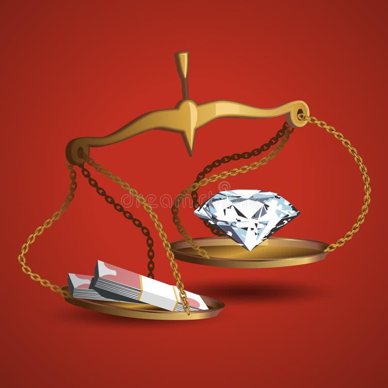 金钱垂悬在平衡的金刚石和一团 向量例证