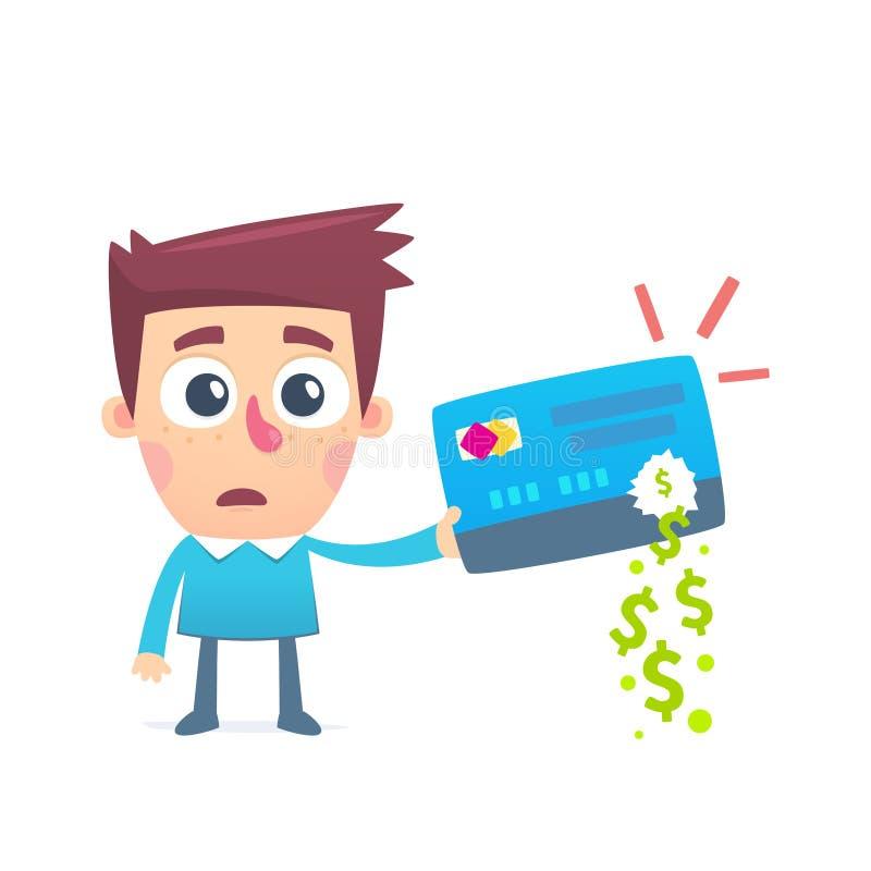 金钱失踪从信用卡的 库存例证