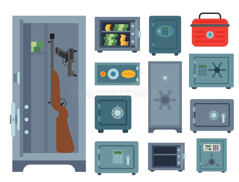 金钱安全钢穹顶门财务企业概念安全企业箱子现金安全保护储蓄传染媒介 皇族释放例证